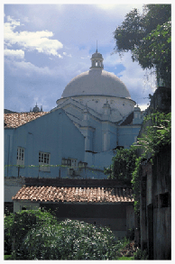 "Trading in ""black gold"" (rubber) and other jungle products, Jewish pioneers prospered, building some of Brazil's finest synagogues. The towering, domed Shaar Hashamaim synagogue in Belem, the capital of the Brazilian state of Pará, houses the country's oldest Jewish congregation, dating from 1824. The synagogue building pictured dates from 1946. Belem still has 400 Jewish families and three active, Orthodox synagogues."