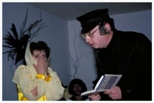 The Purim spiel in Vinnitsya is a bawdy affair. Mordechai, pictured above in Hasidic garb, shocks elegant Esther with his indecent proposal. Cross dressing Jewish community officials, with gold teeth and uneven breasts, solicit young King Ahasuerus — who nonetheless chooses Esther for his queen. A Nazi costumed Haman loses his eye patch when he is tossed to the ground, spanked and ejected from the scene. Everyone sings, eats hamantashen and drinks vodka.   Though Vinnitsya's Jewish community has not recovered religiously from the Soviet-era prohibitions on Jewish practice, Jewish culture is undergoing a veritable revival. Jews and Ukrainians alike are keenly interested in Yiddish theater and Klezmer music, in particular. Holidays like Purim provide a perfect opportunity for showcasing community members' talents, silliness – and resilience.