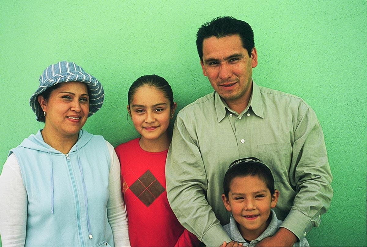 The family of Jewish community president, Shimon Islas Olvera at their home in Venta Prieta, Hidalgo, Mexico.