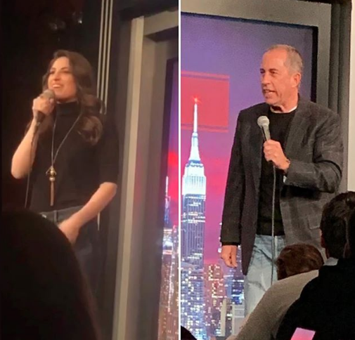 Leah Lamarr and Jerry Seinfeld at Gotham Comedy Club // 01.08.2019 (Who wore black and denim better — Leah or Jerry?)