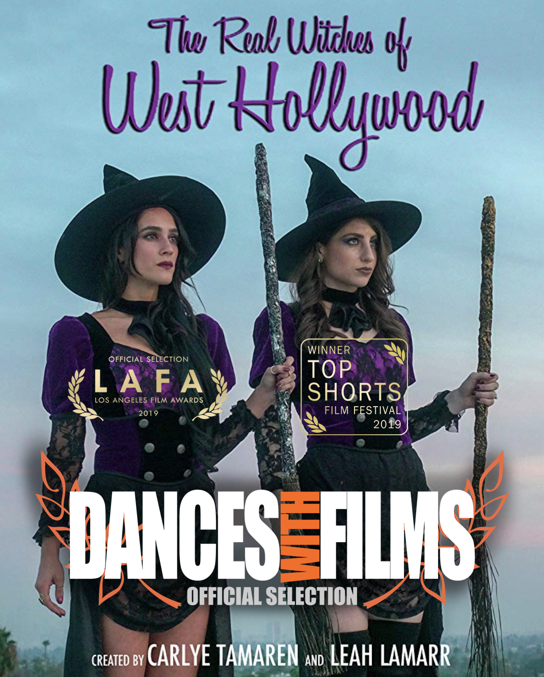 """The Real Witches of West Hollywood"" takes the festival circuit by storm. - Official Selection: LA Film Awards (March 2019).Winner - Honorable Mention (2nd Place): Top Shorts Film Festival (March 2019).Official Selection and World Premiere Screening at DANCES WITH FILMS at the TCL Chinese Theatre Saturday, June 22nd, 2019 at 2:15pm.""The Real Witches of West Hollywood"" is a mockumentary reality TV show about two rich witches living lavishly in Los Angeles."