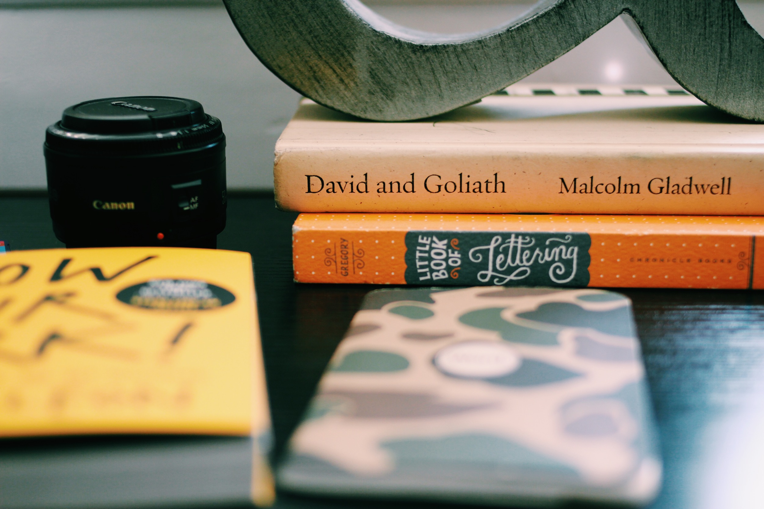 "A couple of my favorite things: ""David and Goliath"" by Malcolm Gladwell and my Canon 50mm 1.8 lens."