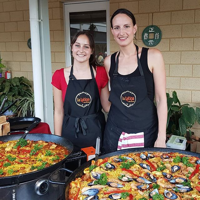 We make an efficient team-  rock up,  seemlessly set up our decorative paella stall and get to cooking. Before you know it,  paellas are bubbling and ready to serve.