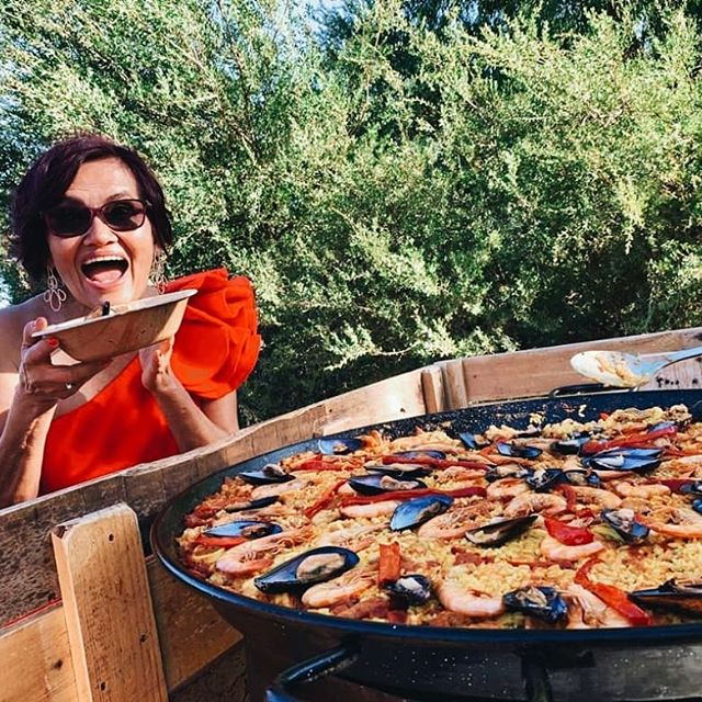 Mama of the Bride... overjoyed for her daughter and excited for.... paella!