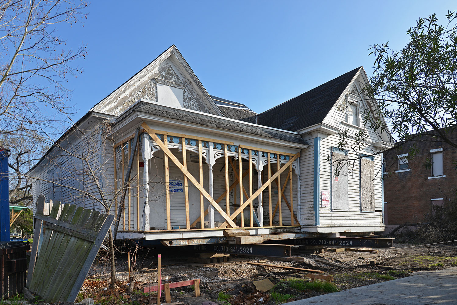 One of the East End houses saved from demolition when it was moved to a new site over the weekend. /  photo by Jim Parsons