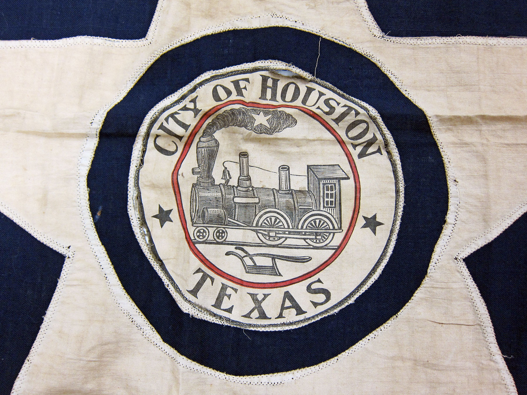 A detail of the prototype of the City of Houston flag, created in 1915. /  photo by Jim Parsons