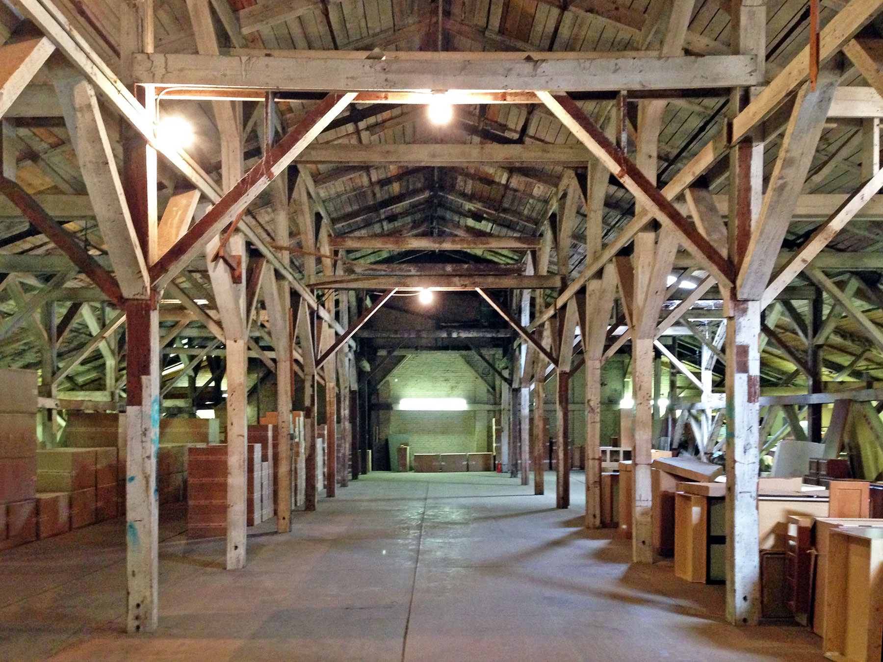 The Howard Oil Company's Seedhouse features original heavy timber framing and brick firewalls. /  photo by Jim Parsons