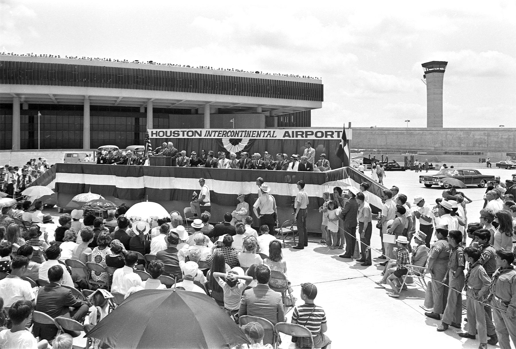 Opening of Intercontinental Airport with West Airport Traffic Control Tower in background, 1969 /  courtesy of Houston Metropolitan Research Center, Houston Public Library