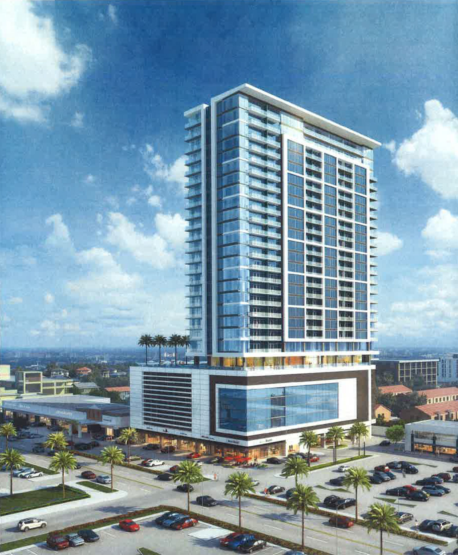 The 29-story residential tower proposed to replace a portion of the historic River Oaks Shopping Center building at 1964 West Gray.