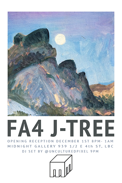 Since our return from the deserts of Joshua Tree we have made a variety of works inspired by the vast star studded skies we slept below to the urban environment we have returned to. Our show will represent these moments. Your senses will travel through landscape, figure, mixed media, paint, and sculpture. Join us for a night reminiscing, and connecting in a dynamic art space filled with poetry and live music. FA4 Collective will be installing work at the Midnight Gallery and The Stache Bar just down the stairs. See you there  Featuring: Adrien Edwards Alina Michelle Pritchett Charles Banowetz Ciana Lee Courtney Heiser Cynthia Luján Elaine Kwak Elizabeth Carranza Gloria Elisa Margarita Sanchez Jamie Villatoro Jeff Dulla Jenny Aguirre Marlene Tafoya Megan Kinney Monica Andreina Martinez Romina Del Castillo