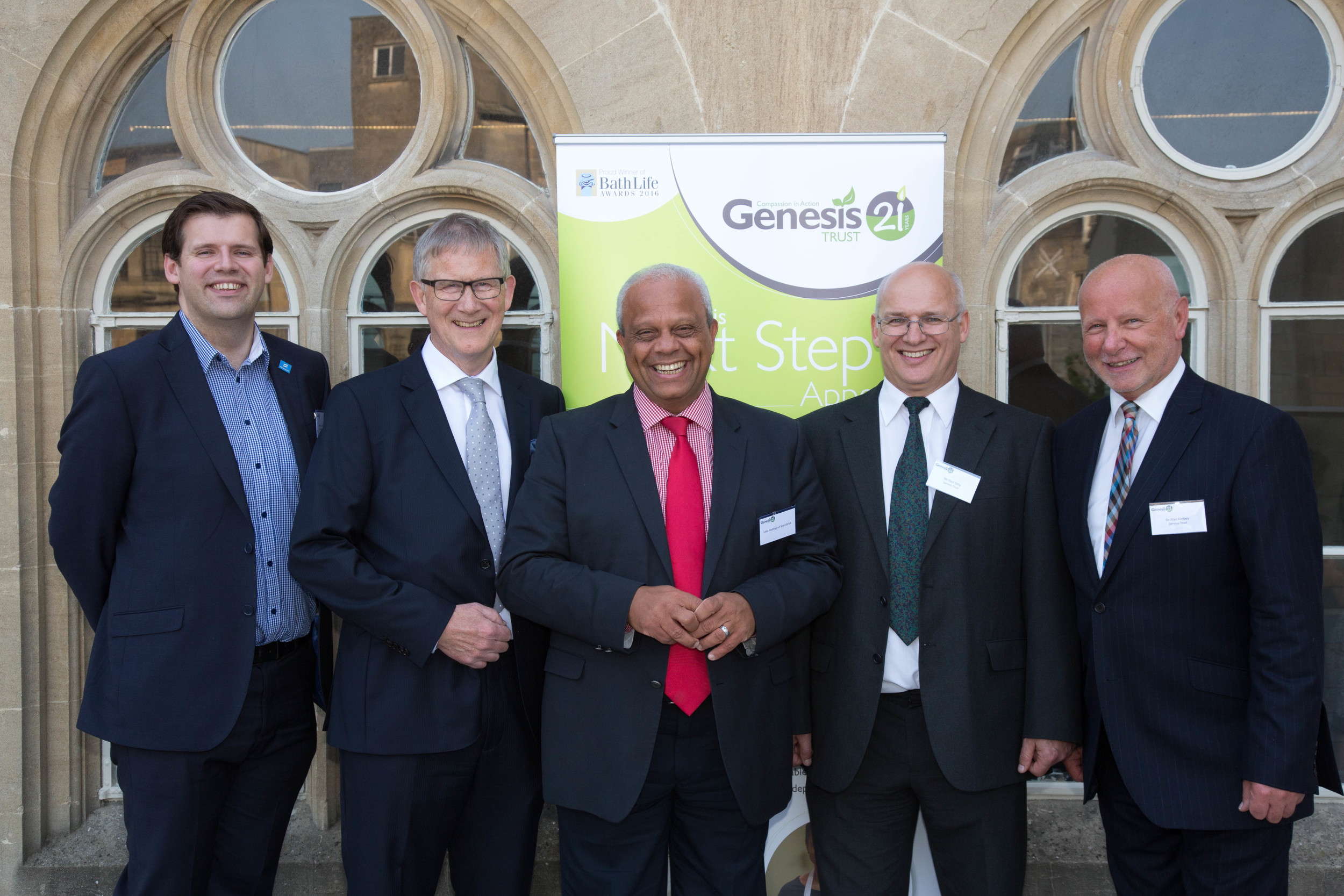 Launch day: Ben Howlett MP, Sir Peter Heywood, VIP speaker Lord Michael Hastings of     Scarisbrick, and Paul Solly and Dr Alan Kerbey from the Genesis Trust