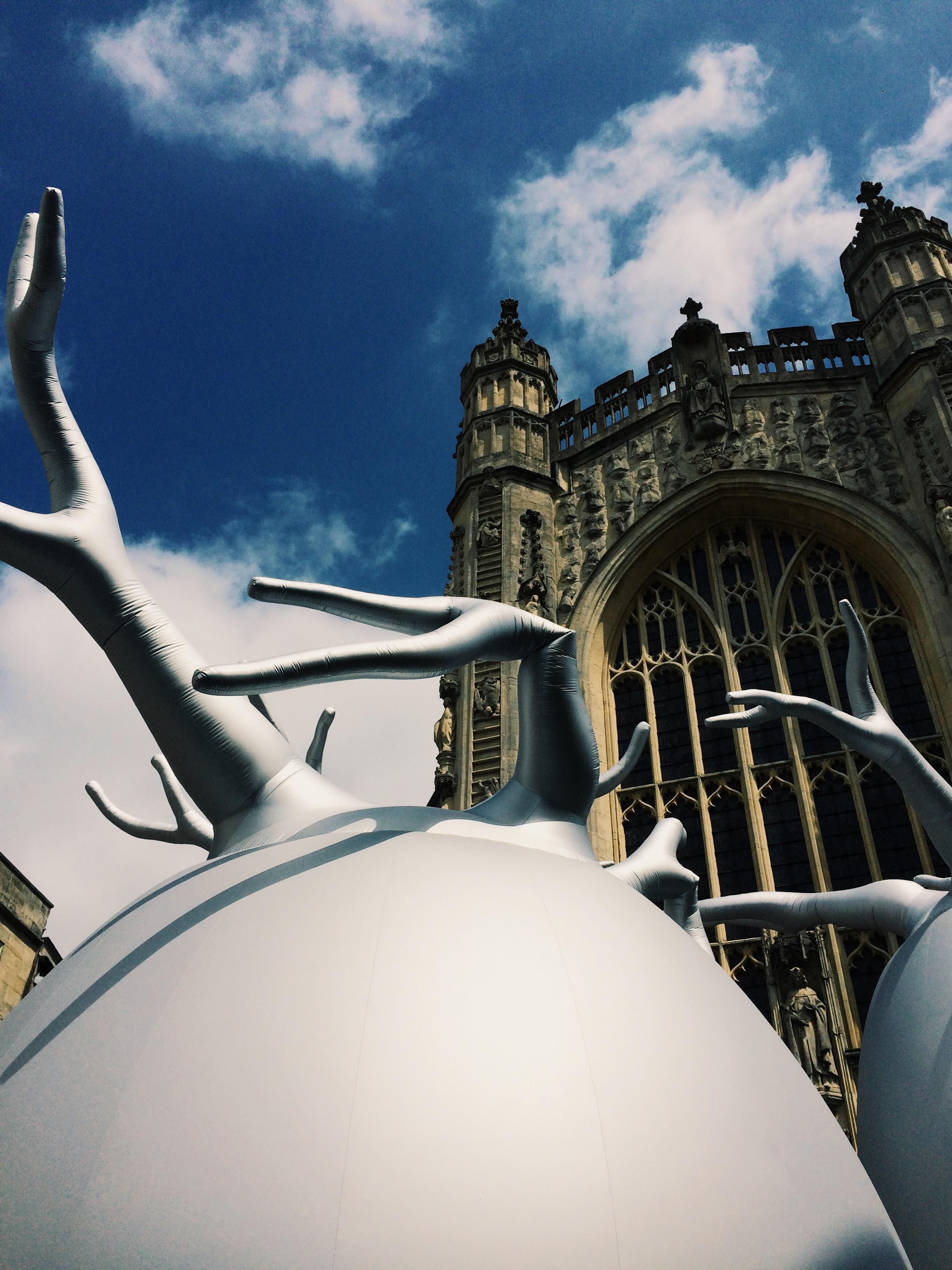 Bath Abbey viewed through art installation