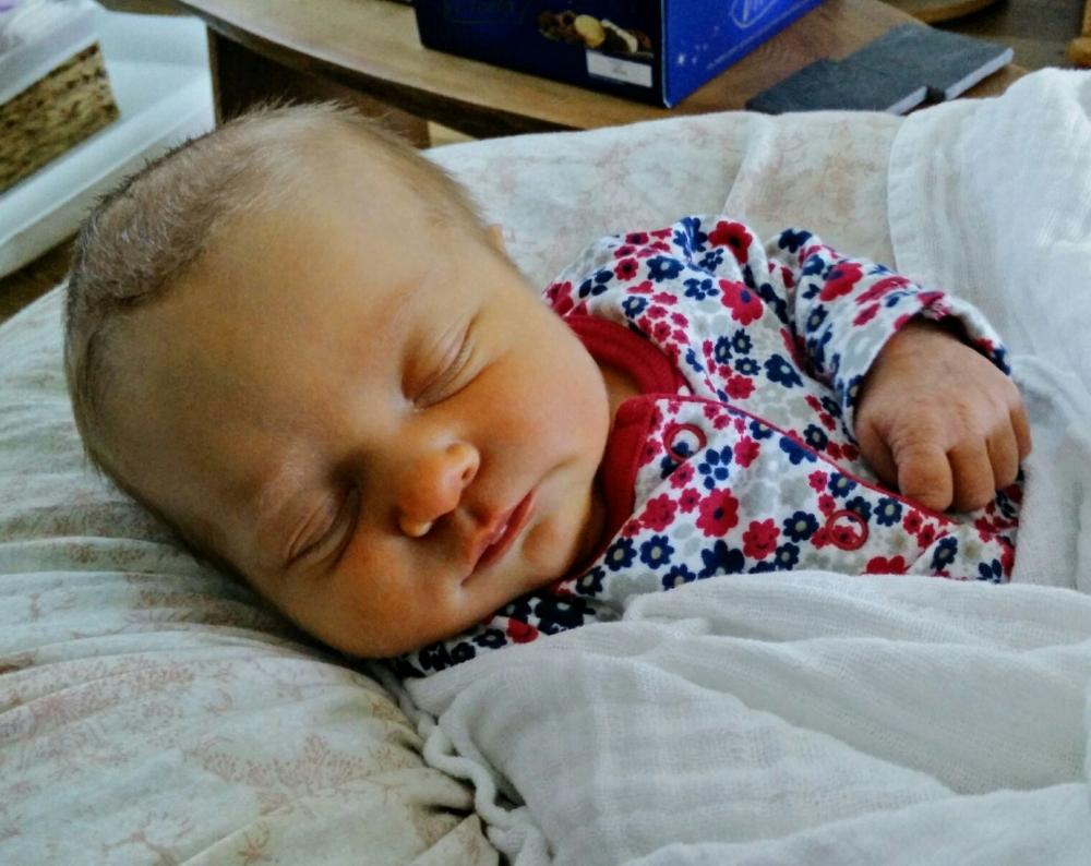 Finally....milk 'fest' over and Evie is having some sleep. #handsfreemama