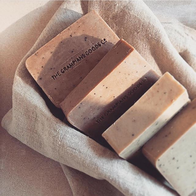The Grampians Goods Co. refreshed logotype pressed into their organic sandstone soaps 🖤