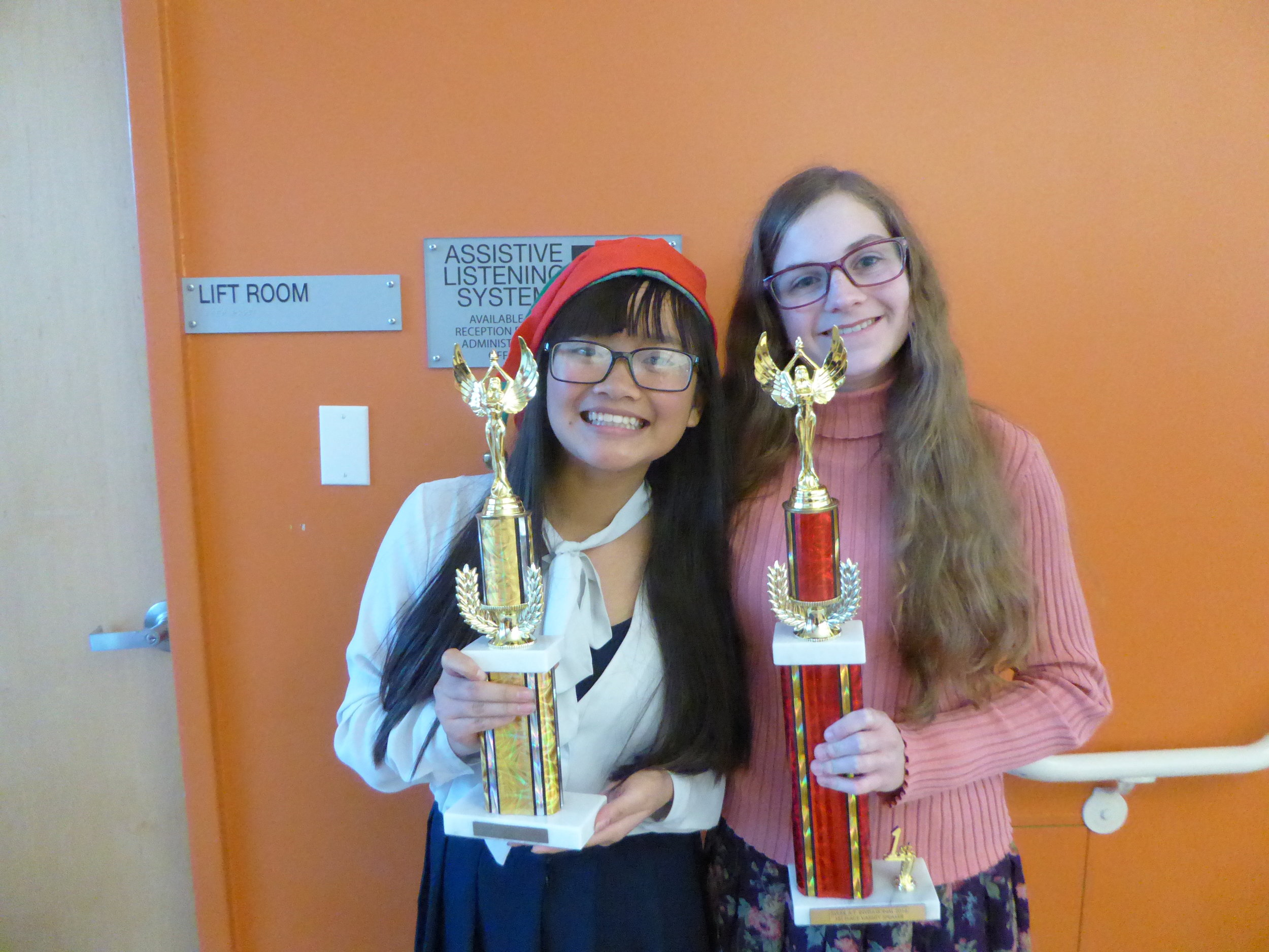 Kim and debater partner Abby took home top honors at the Aaron Thomas Invitational last December