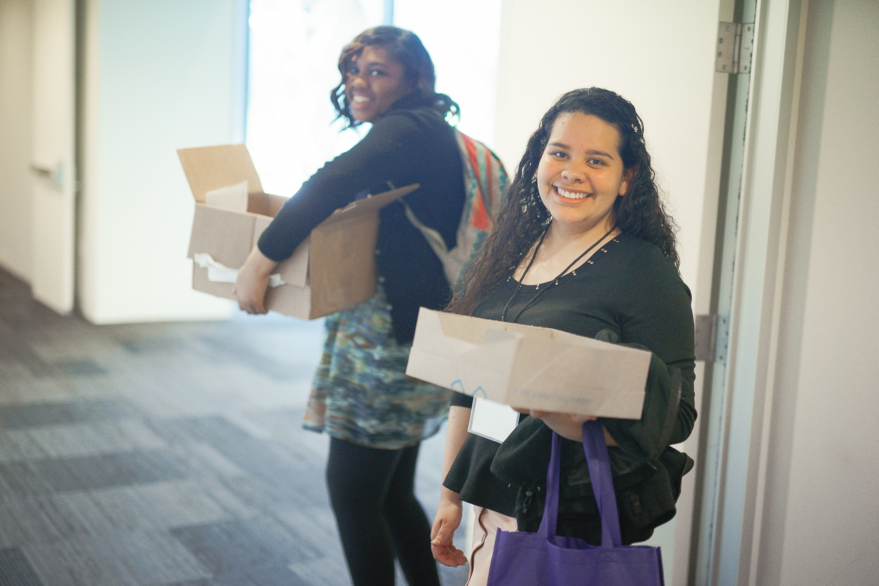 Kierra, in back, with Blanca, another Moot Court Volunteer and Student Observer