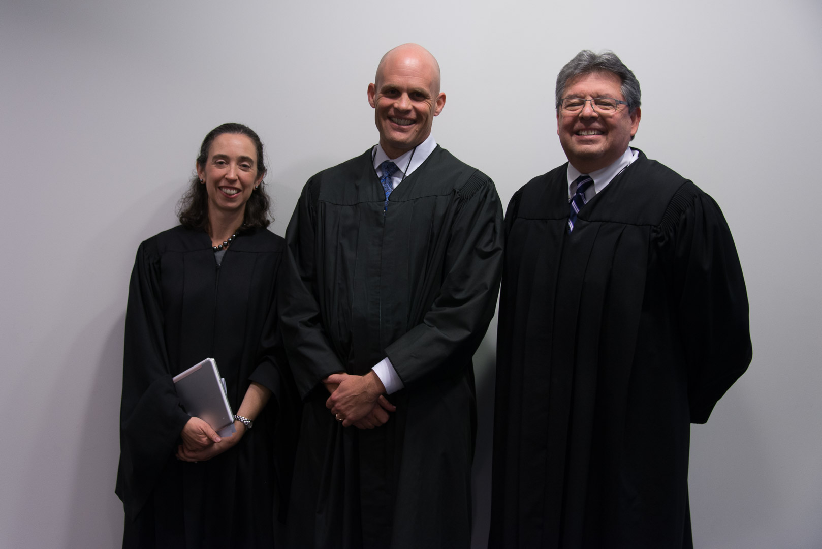 2018 SVUDL Moot Court Competition Panelists: the Honorable Judge Michelle Friedland and the Honorable Judge John Owens  of the United States Court of Appeals for the Ninth Circuit, and the Honorable Judge Ed Davila of the United States District Court, Northern District of California.