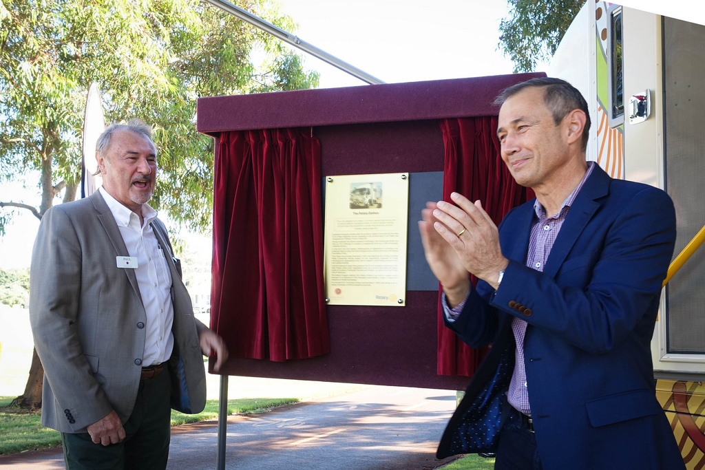 Paul Higginbotham and Deputy-Premier Roger Cook launch the new Rotary Earbus