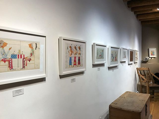 "Come check out the new show, ""Just Us"" by Dwayne Wilcox. Meet the artist today and tomorrow! #contemporaryledgerart #ledgerartist #canyonroad #santafenm"