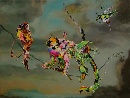 Hidenori Mitsue,Monkey and Birds, 2015. Courtesy: Francis Boeske Projects