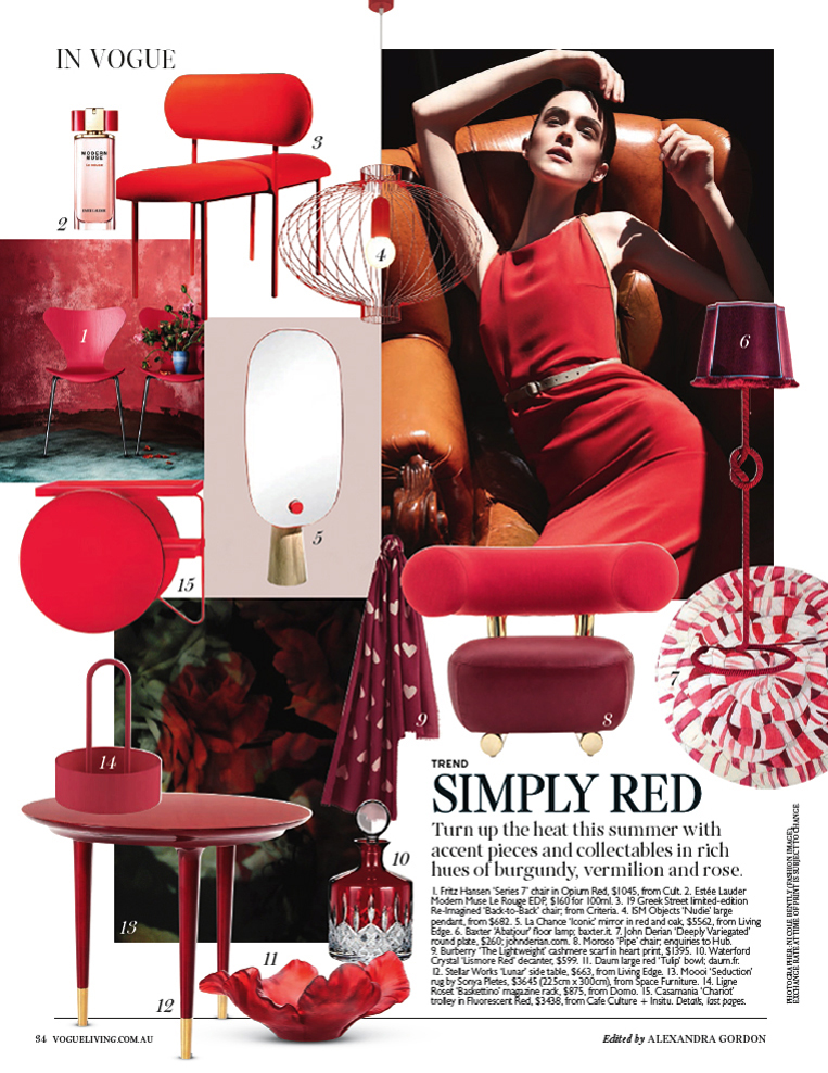Vogue Living - Simply Red Article 2016