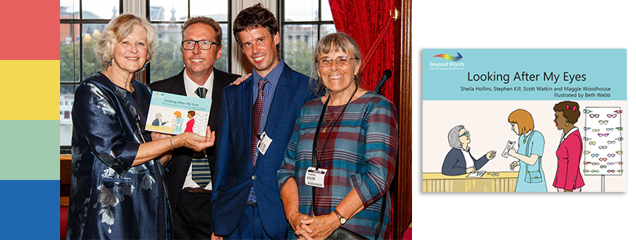 Left to right: authors Baroness Sheila Hollins, Stephen Kill, Scott Watkin BEM and illustrator Beth Webb [author Prof. Maggie Woodhouse not pictured]