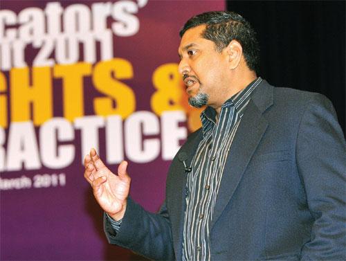 Sadasivan speaks on the importance of moral leadership over managerial leadership. PHOTO: Impactus! Pte Ltd