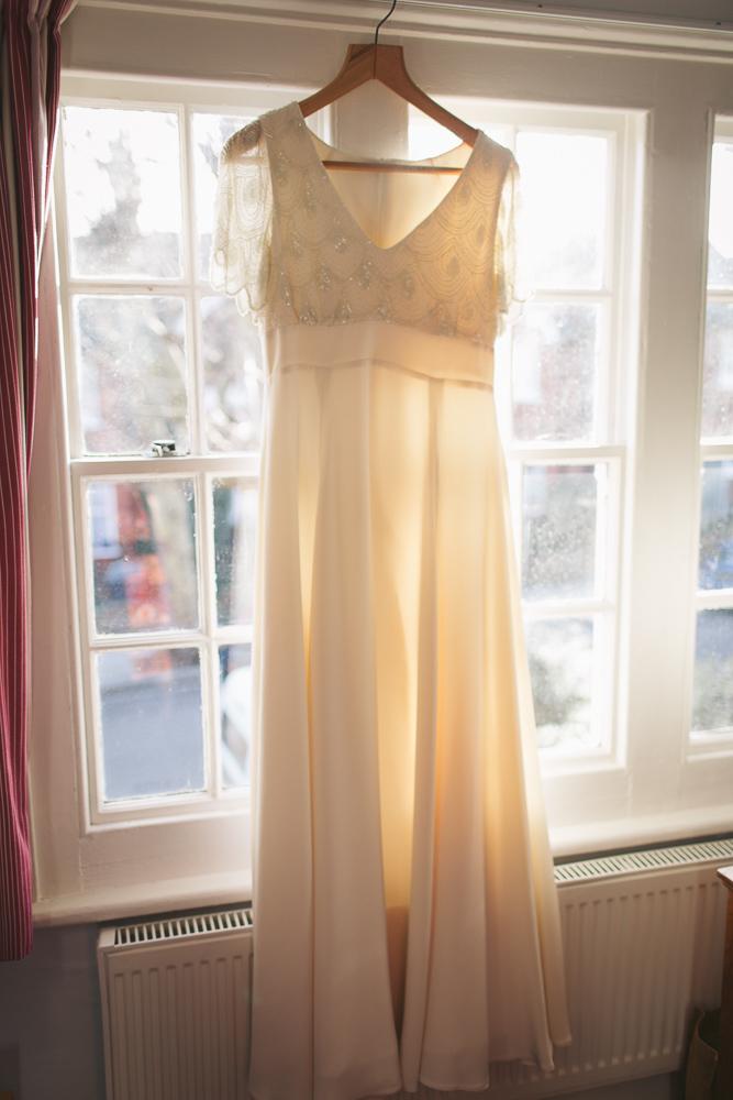 Bridal prep, wedding dress