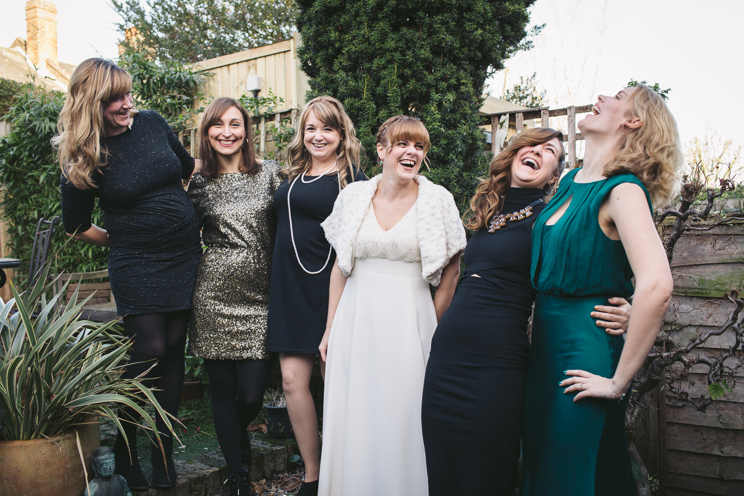 Winter wedding, the bride and her girlfriends