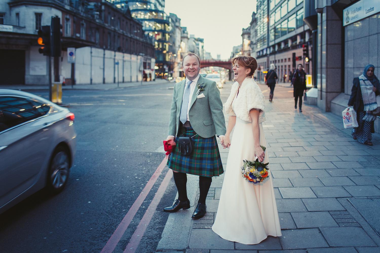 Bride and groom portrait, Holborn Viaduct, London