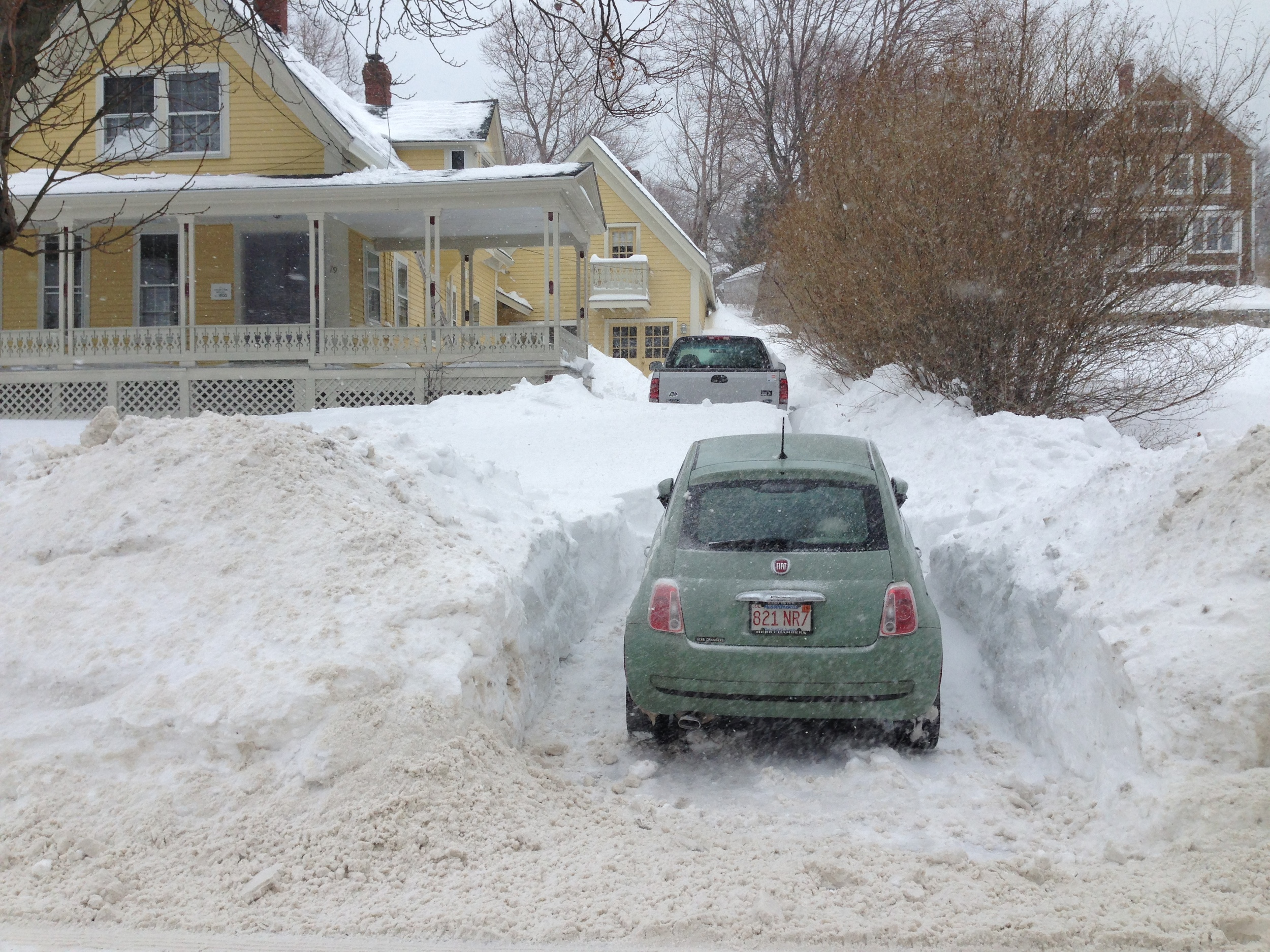 Fiat was surprisingly superior to pickup truck in the snow... Photo Credit: me