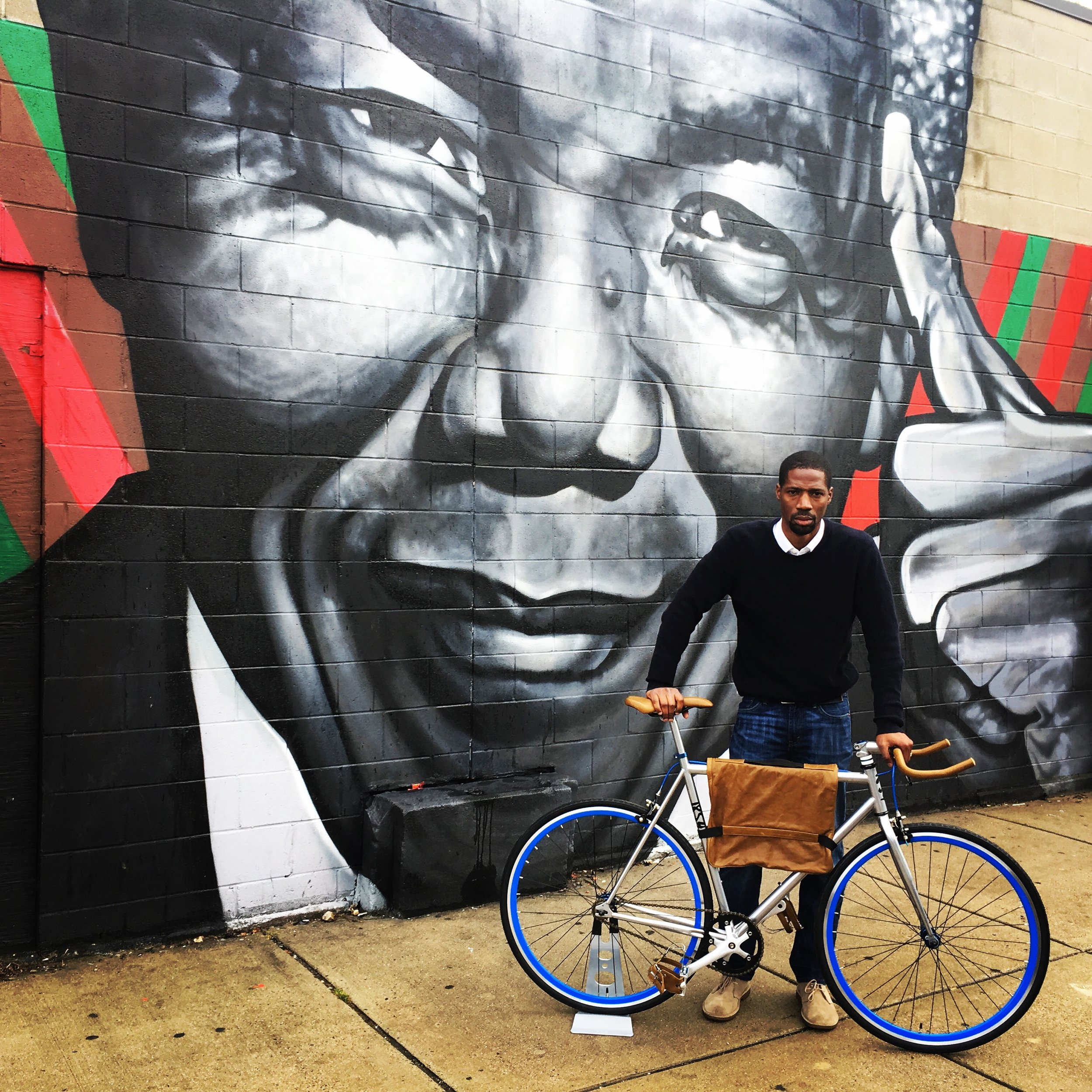 """Brandale Randolph with """"The Garrison,"""" the first model for sale at The 1854 Cycling Company. Photo credit - me."""