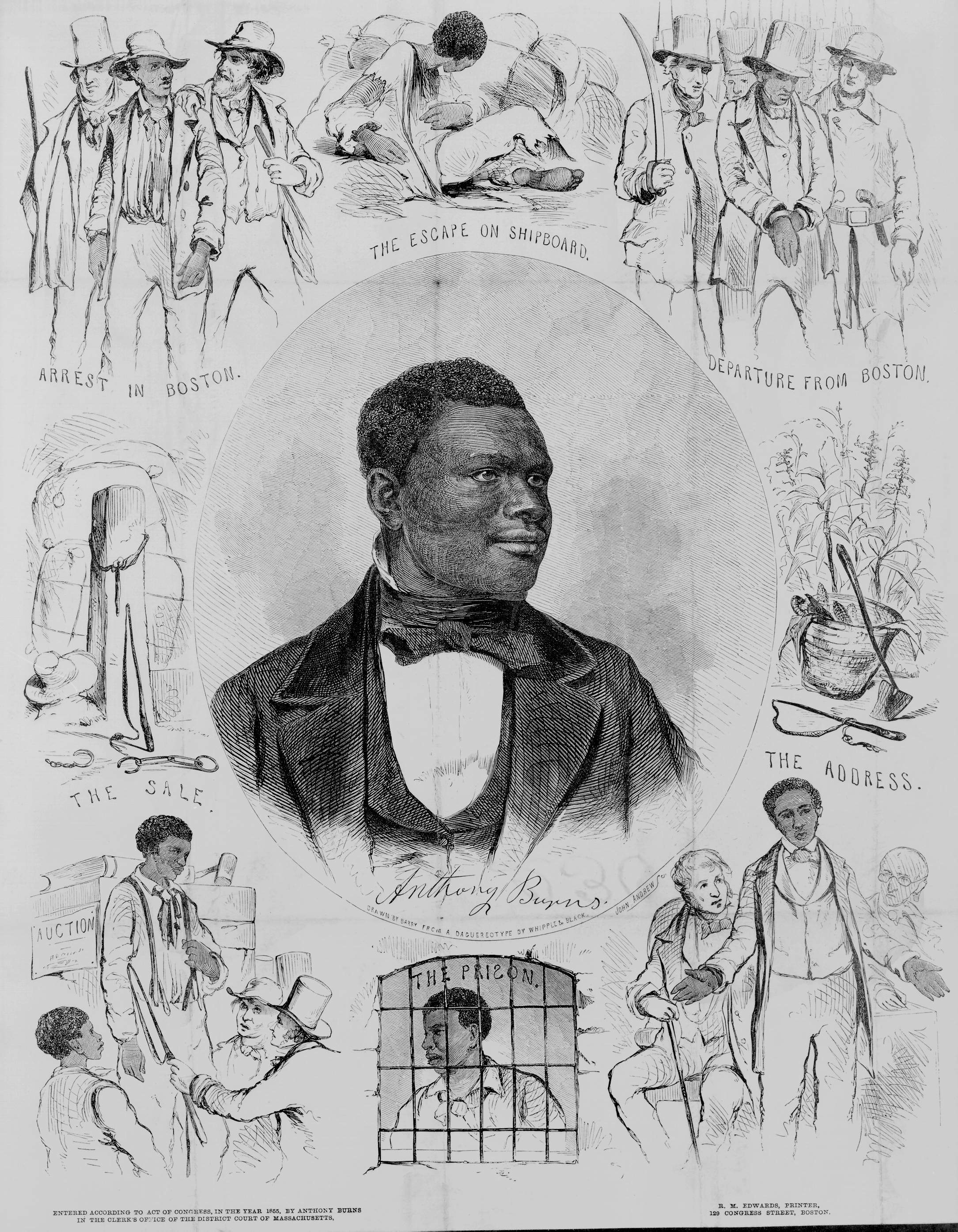 A  portrait  of Anthony Burns,Boston,R.M. Edwards, printer, 129 Congress Street, Boston, c1855.
