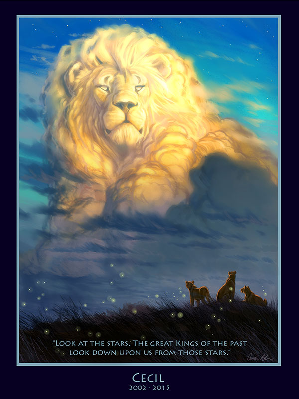 Cecil art by Aaron Blaise