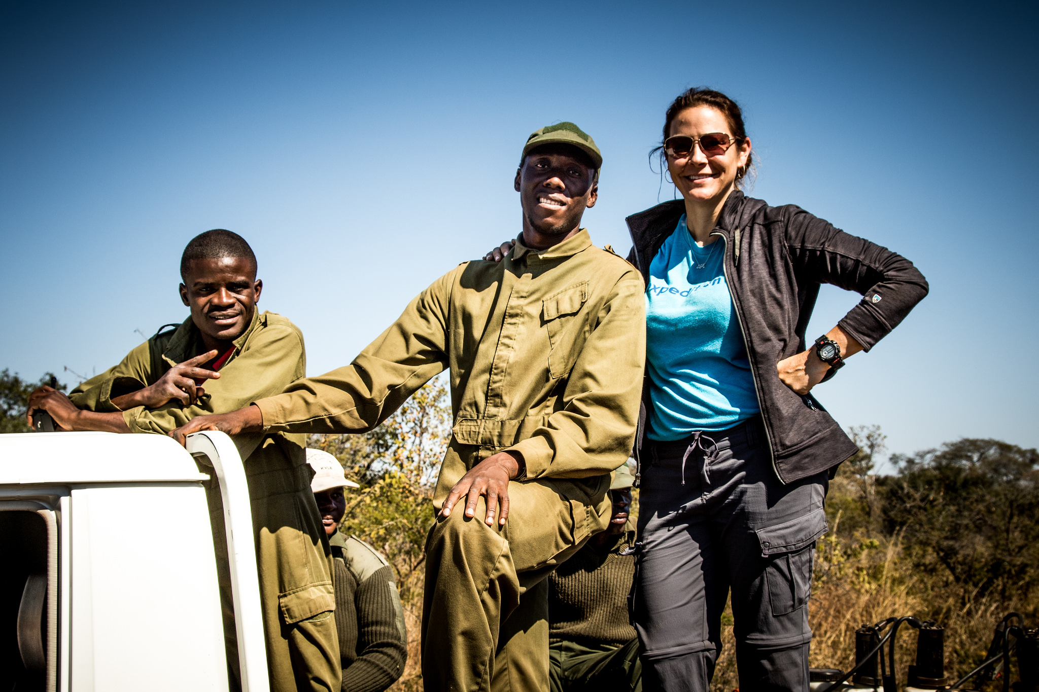 Kristy in Zimbabwe for Expedition Art's RhinoAware 2016