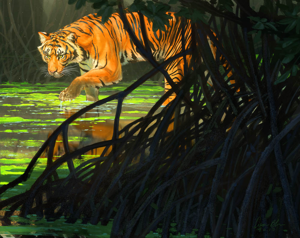 """Ghost of the Sunderbans"" by  Aaron Blaise  (digital)"