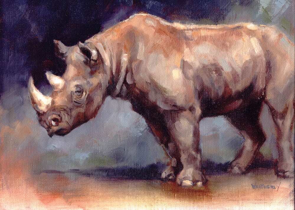 """Black Rhino"" by  Joe Weatherly  (oil on canvas)"