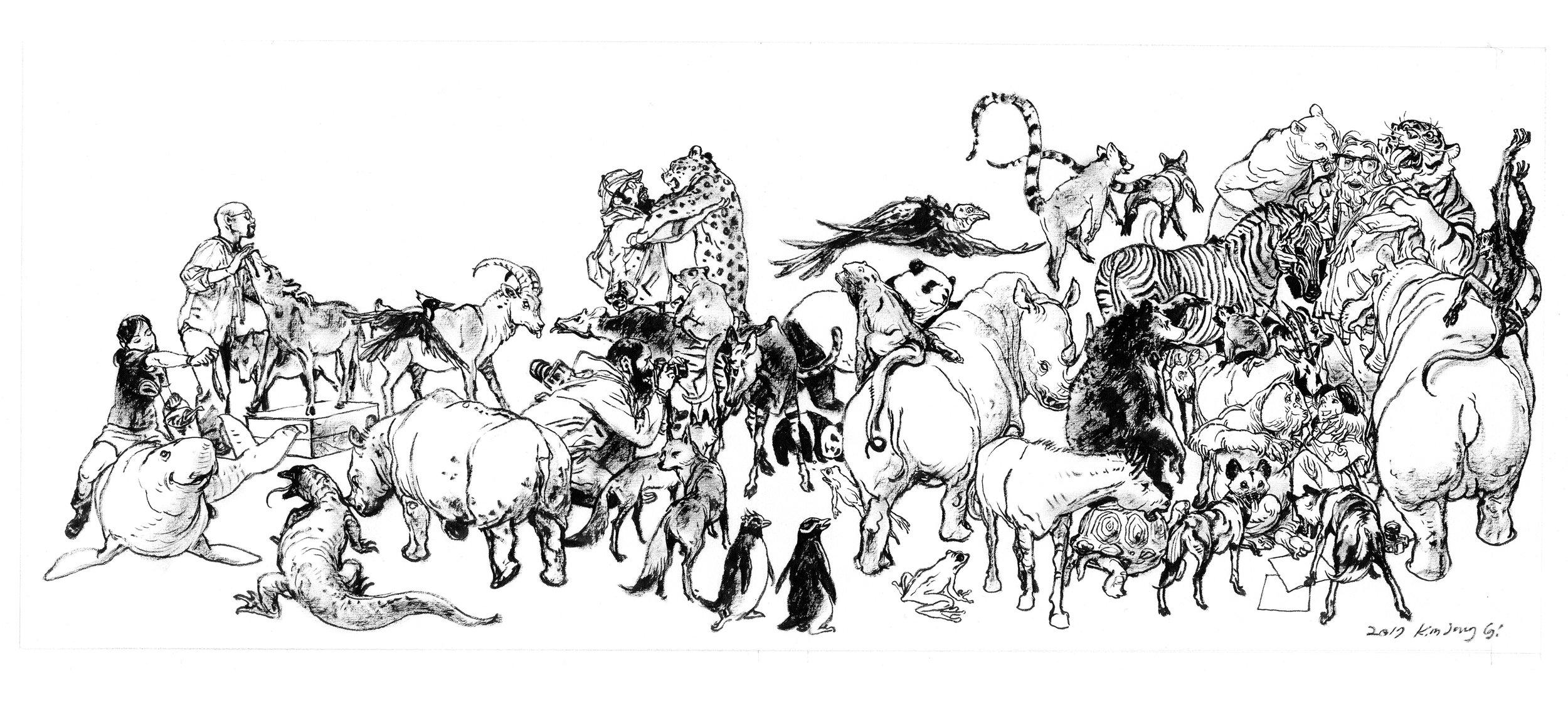 """""""Endangered Species"""" by  Kim Jung Gi  (Pentel Brush pen)"""