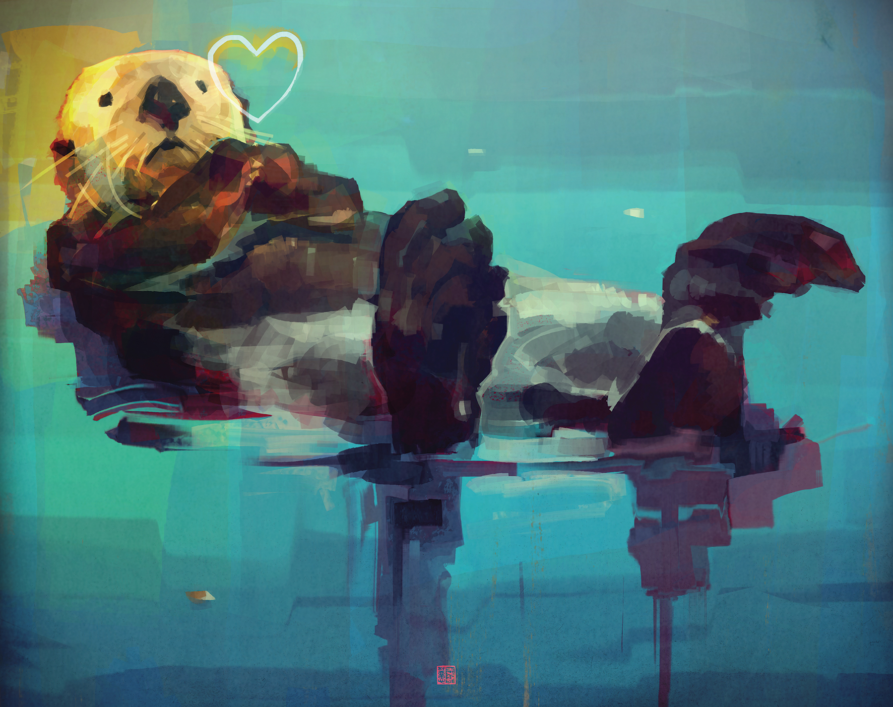 """""""Northern Sea Otter"""" by  Thierry Doizon  (Digital)"""