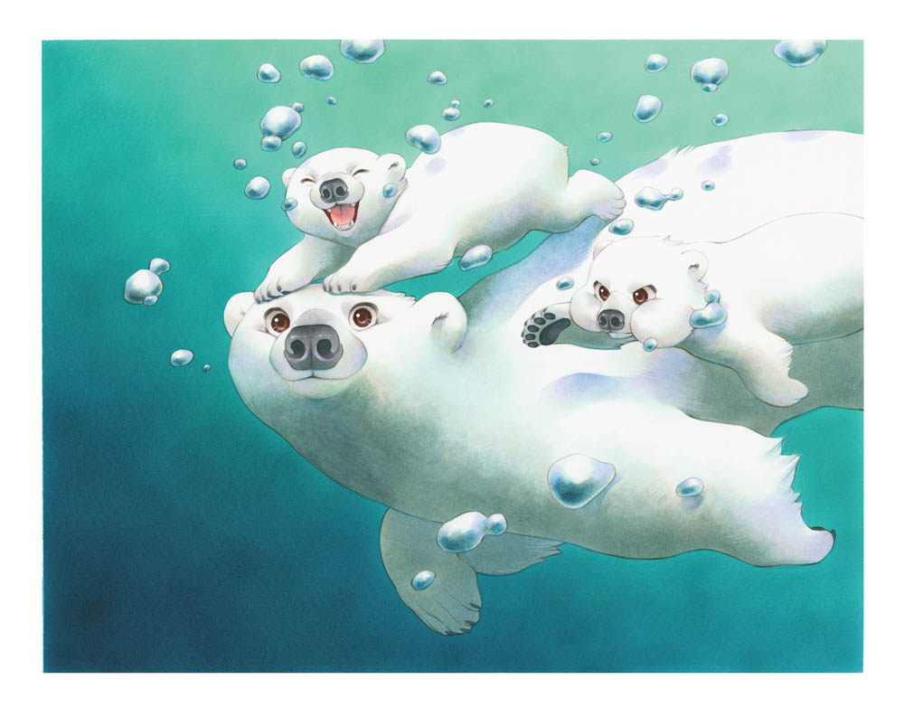 """""""Swimming Lesson"""" by  Chihiro Howe  (Copic markers)"""