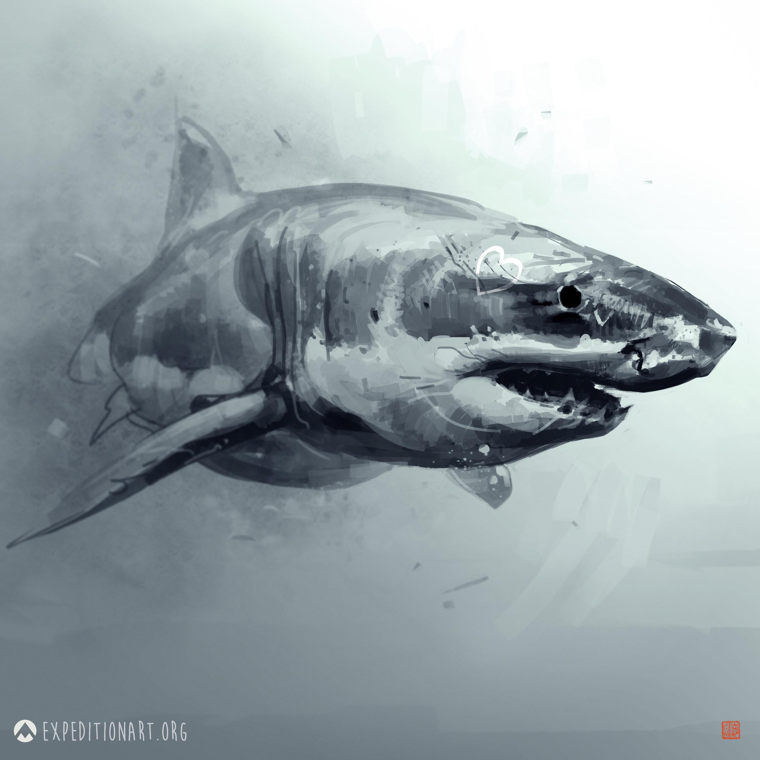 """""""Shark Luv"""" by  Thierry Doizon  (Digital)"""