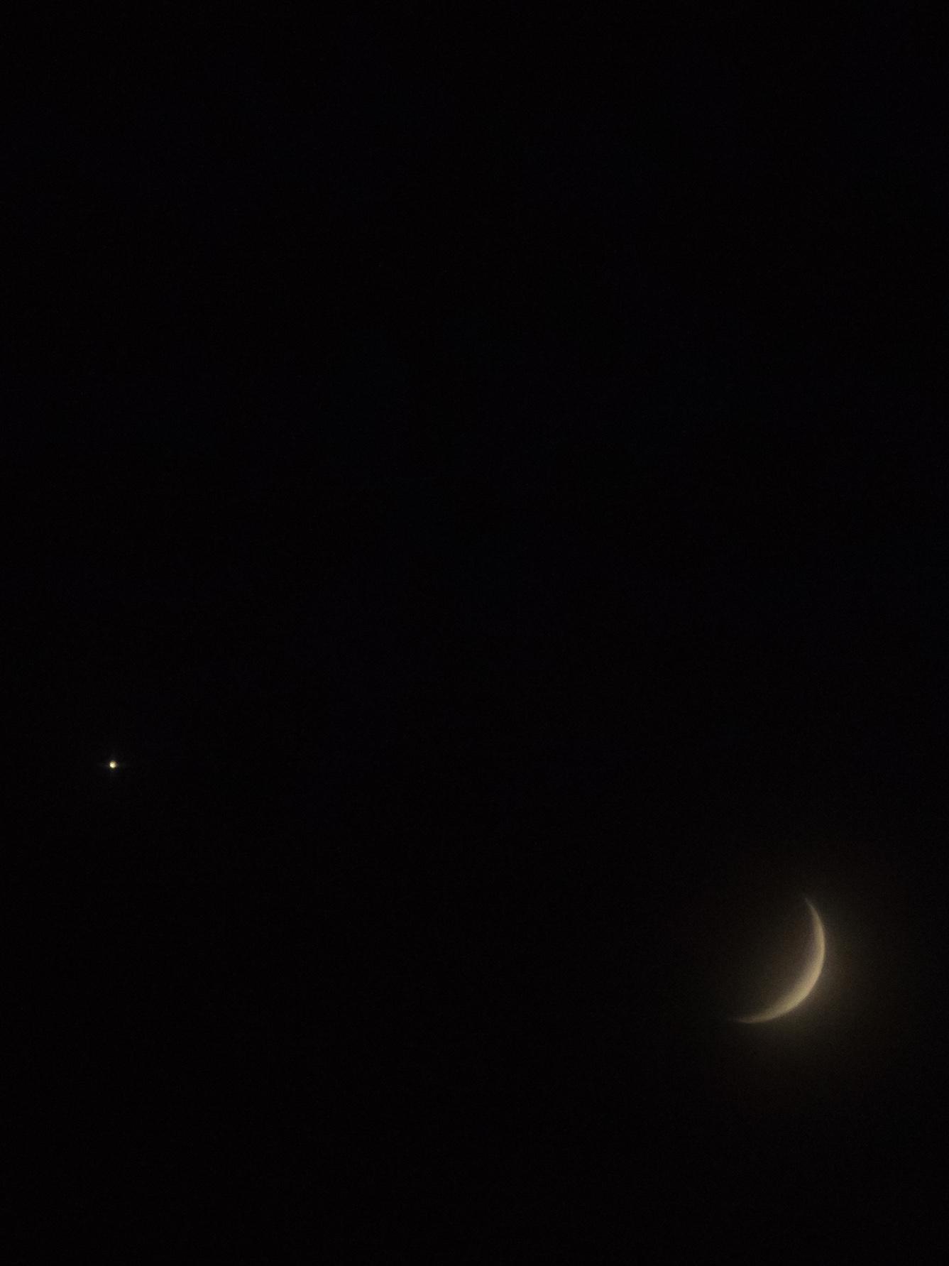 Waxing Crescent Moon and Venus | 20190715 2104 W:38.96x77.00@77m