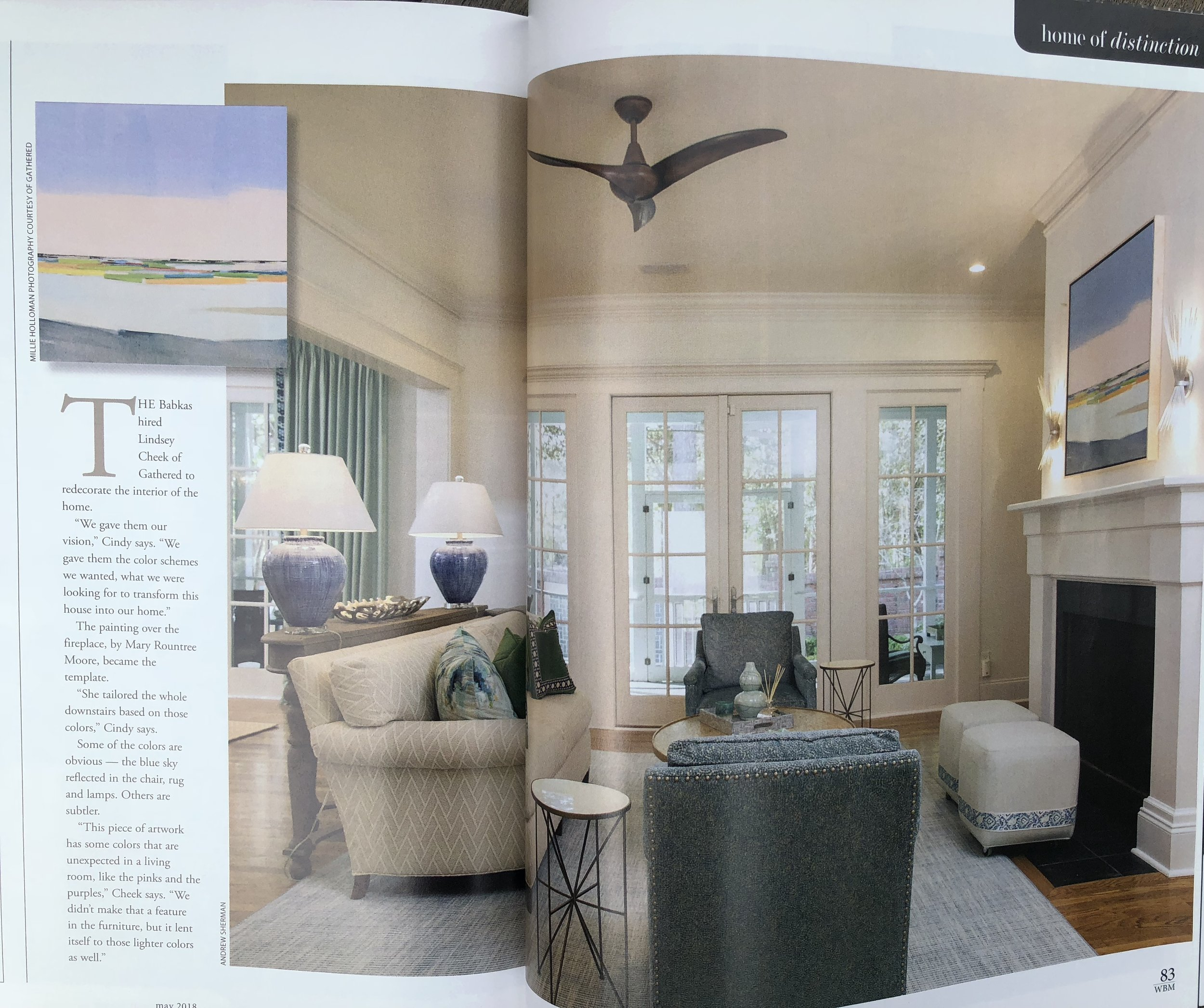 April 2018 issue of WRIGHTSVILLE BEACH magazine has a lovely spread with one of my paintings...check out Lindsay Cheek's design work... -