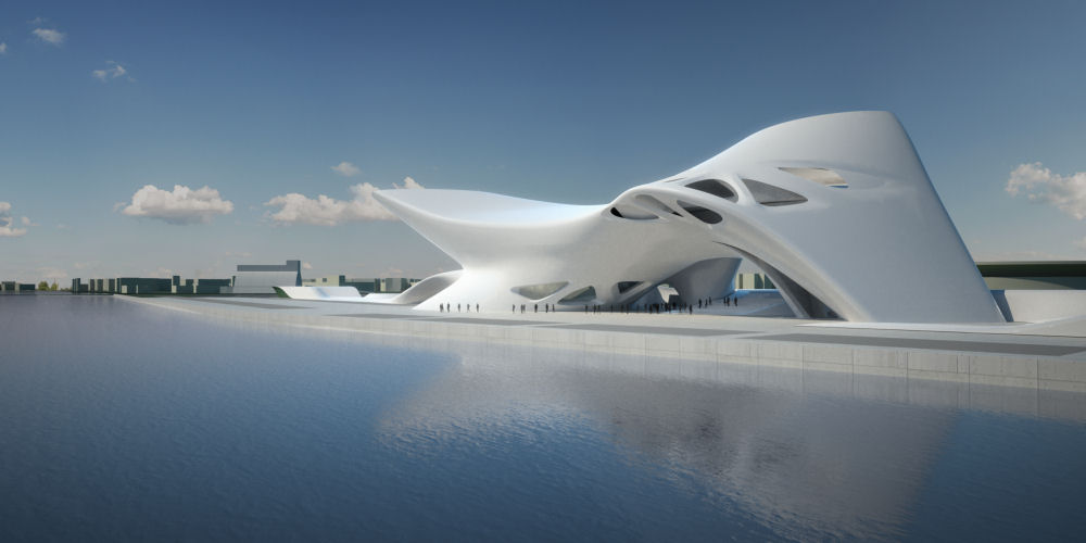 Winning design from Zaha Hadid architects for the Nuragic and Contemporary Art Museum in Cagliari, Italy.
