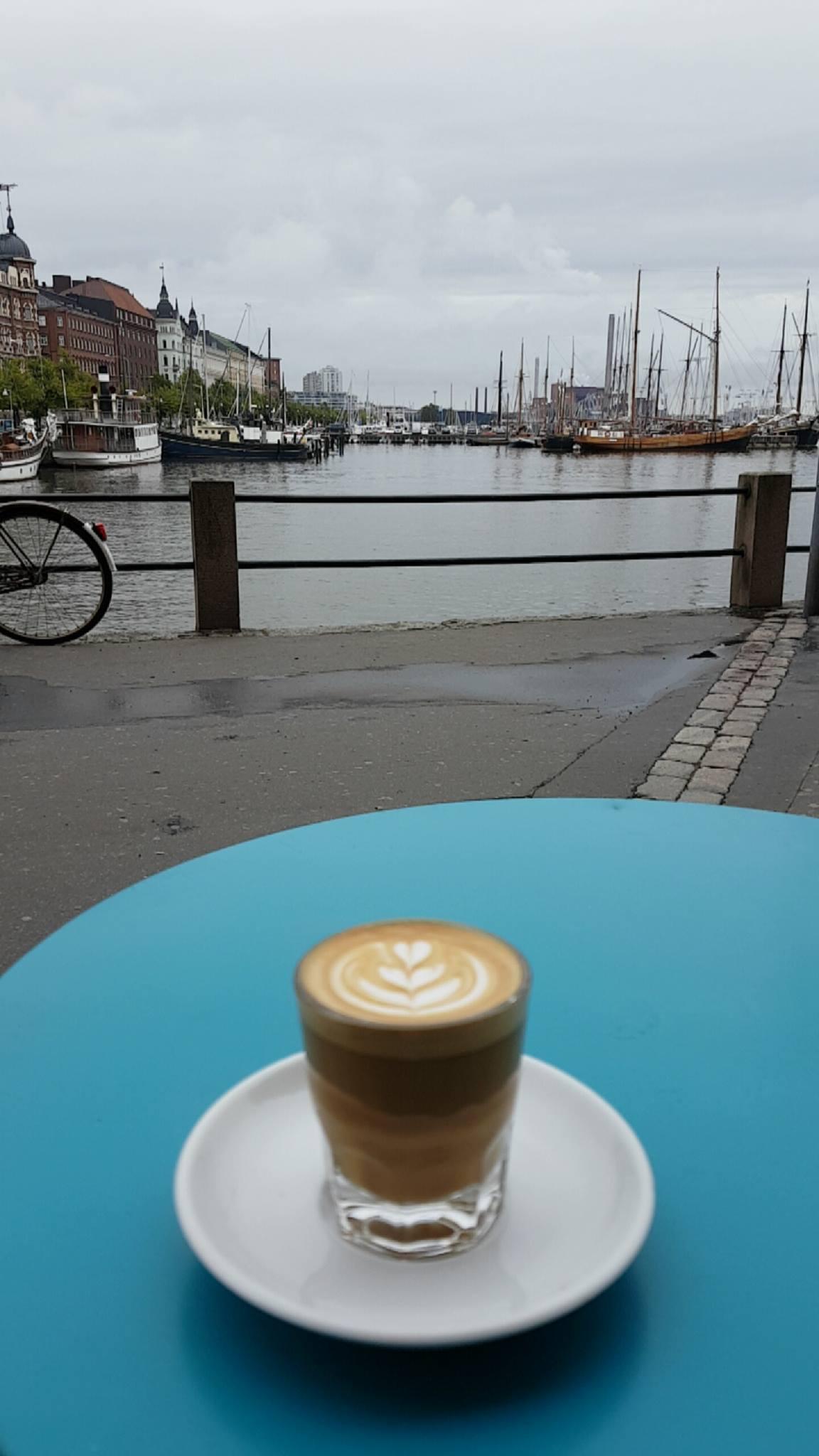 Coffee break by the sea.