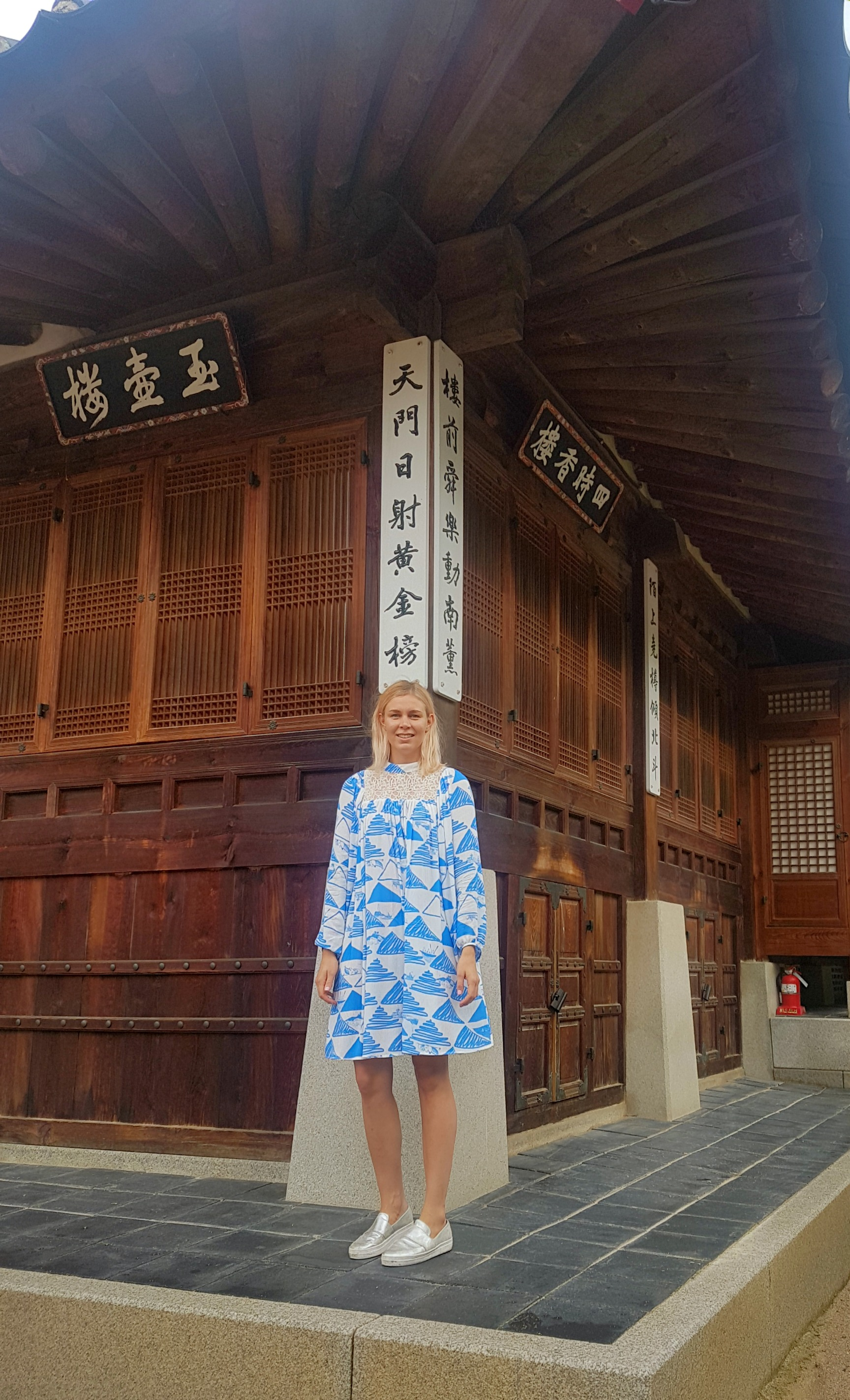 Outside Geoncheonggung Residence wearing Moomin Senja dress by Ivana Helsinki.