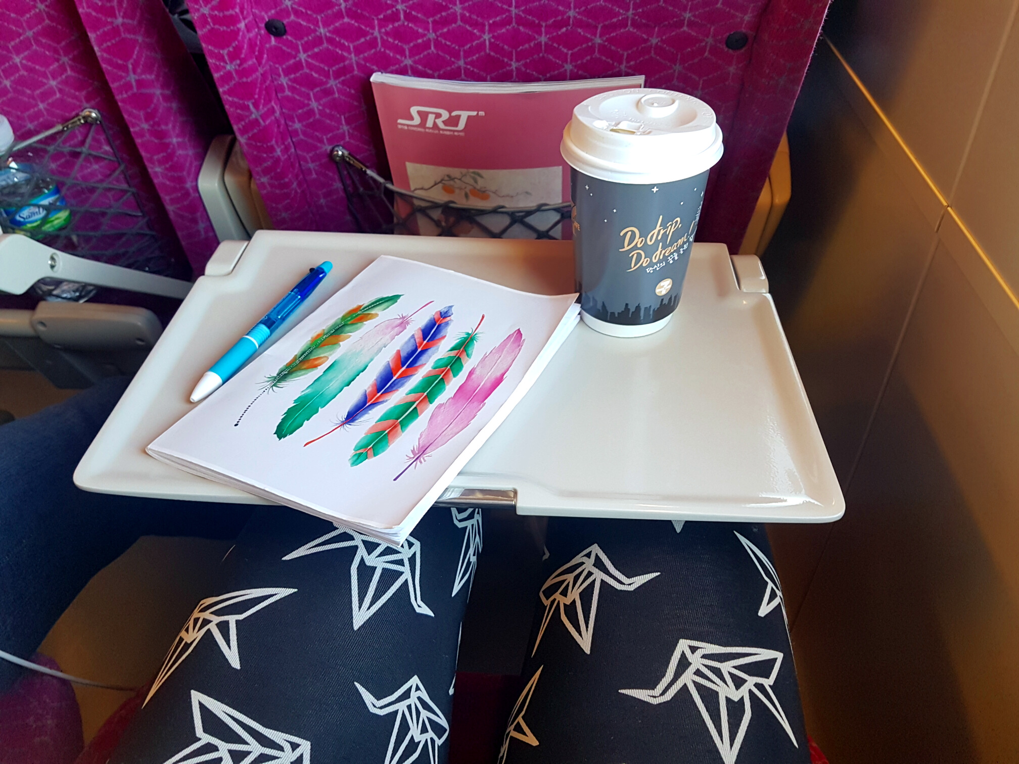 Nice cup of coffee,a notebook and a pen are all I need for a train ride.  Yo Zen  leggings are a stylish and comfy choice for a travel day.