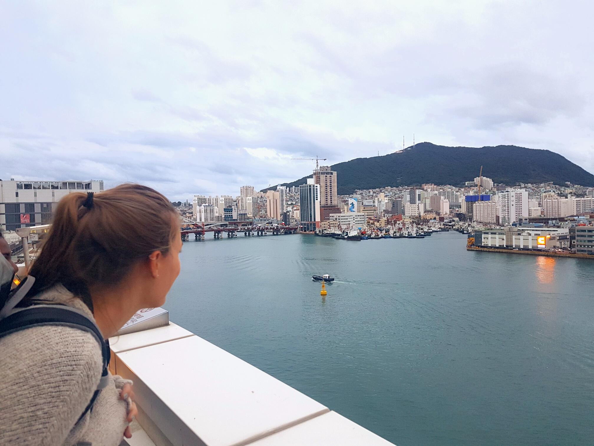 Ina admiring the view from our rooftop.