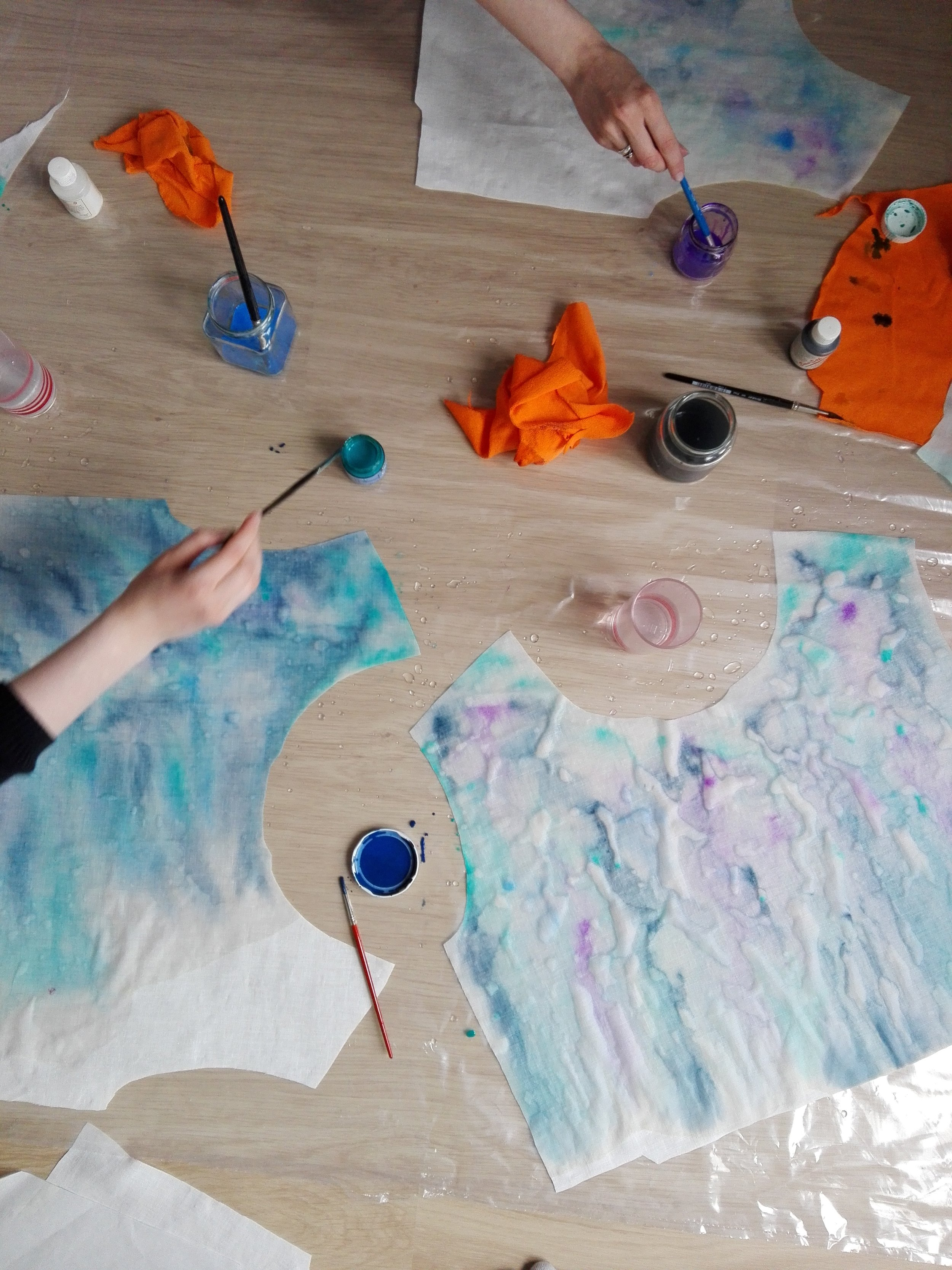 Watercolor shirts in the making. Photo by Essi