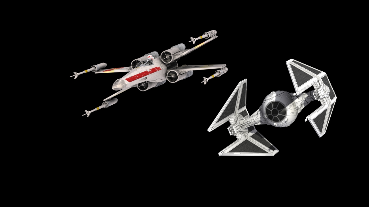 """X-Wing model provided by """"Mister X, TIE Interceptor provided by """"Kehlan"""""""